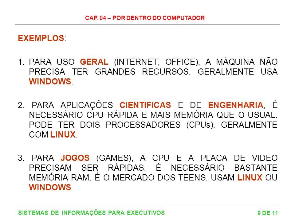 CAP. 04 – POR DENTRO DO COMPUTADOR 9 DE 11 SISTEMAS DE INFORMAÇÕES PARA EXECUTIVOS EXEMPLOS: 1.PARA USO GERAL (INTERNET, OFFICE), A MÁQUINA NÃO PRECIS