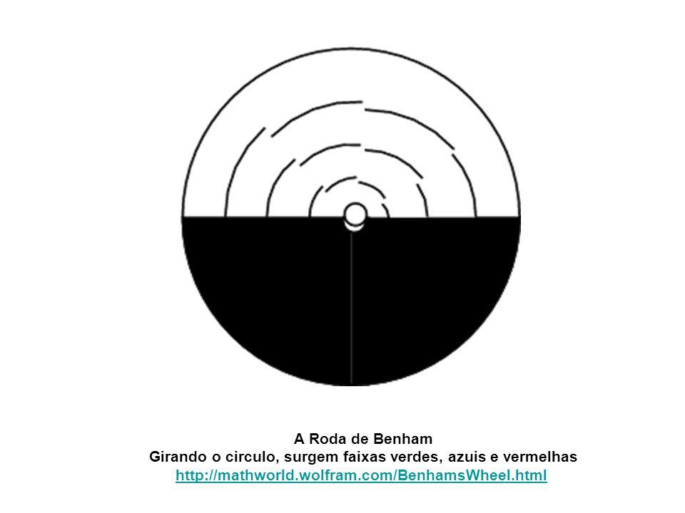 A Roda de Benham Girando o circulo, surgem faixas verdes, azuis e vermelhas http://mathworld.wolfram.com/BenhamsWheel.html