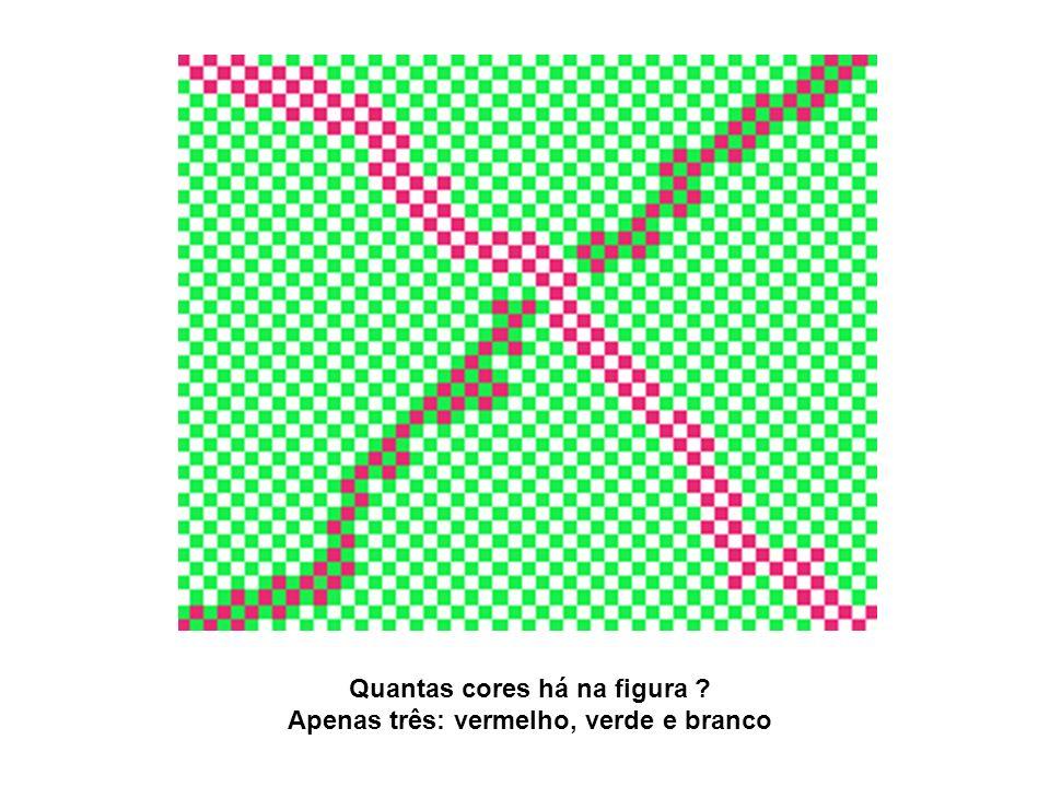 Quantas cores há na figura ? Apenas três: vermelho, verde e branco