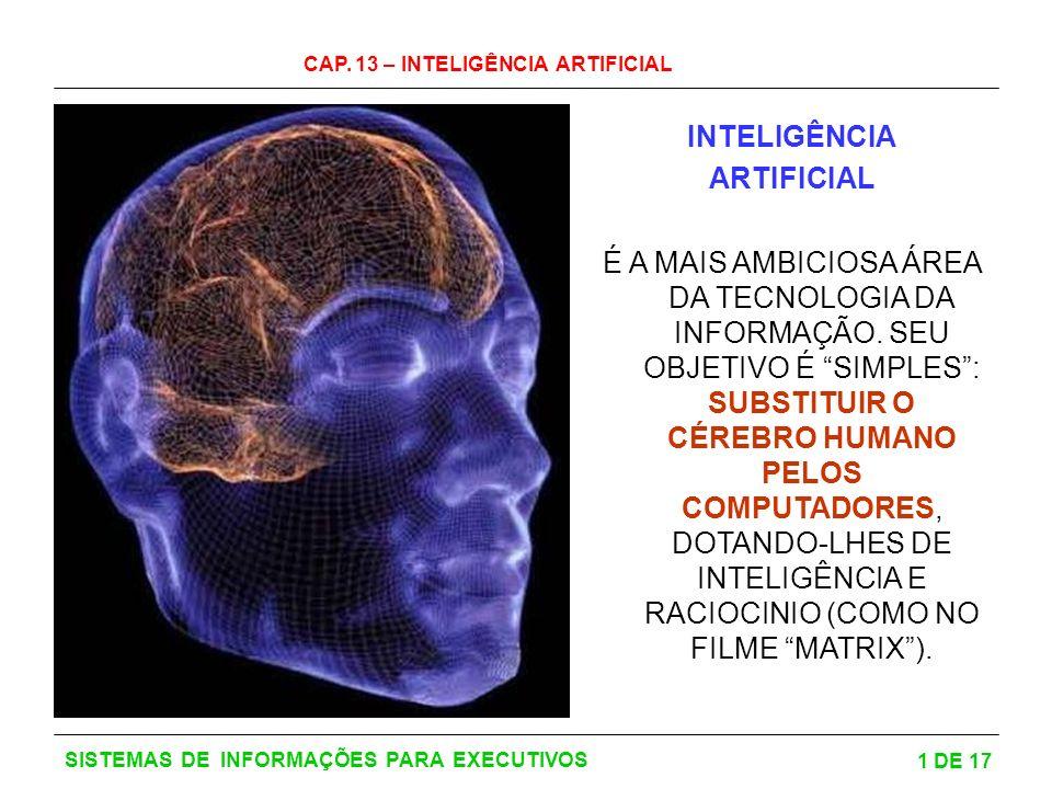 CAP. 13 – INTELIGÊNCIA ARTIFICIAL 1 DE 17 SISTEMAS DE INFORMAÇÕES PARA EXECUTIVOS INTELIGÊNCIA ARTIFICIAL É A MAIS AMBICIOSA ÁREA DA TECNOLOGIA DA INF