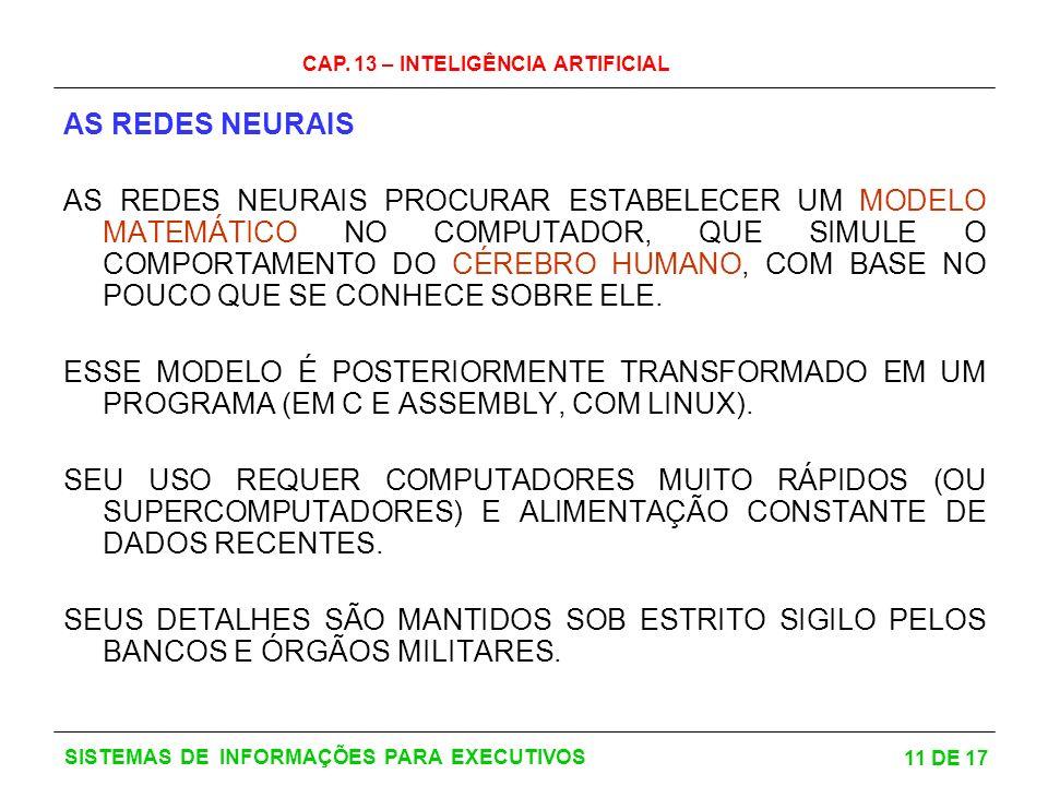 CAP. 13 – INTELIGÊNCIA ARTIFICIAL 11 DE 17 SISTEMAS DE INFORMAÇÕES PARA EXECUTIVOS AS REDES NEURAIS AS REDES NEURAIS PROCURAR ESTABELECER UM MODELO MA