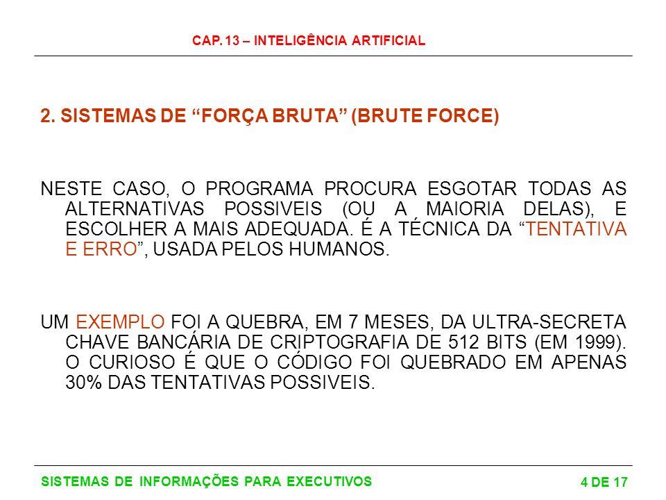 CAP. 13 – INTELIGÊNCIA ARTIFICIAL 4 DE 17 SISTEMAS DE INFORMAÇÕES PARA EXECUTIVOS 2. SISTEMAS DE FORÇA BRUTA (BRUTE FORCE) NESTE CASO, O PROGRAMA PROC