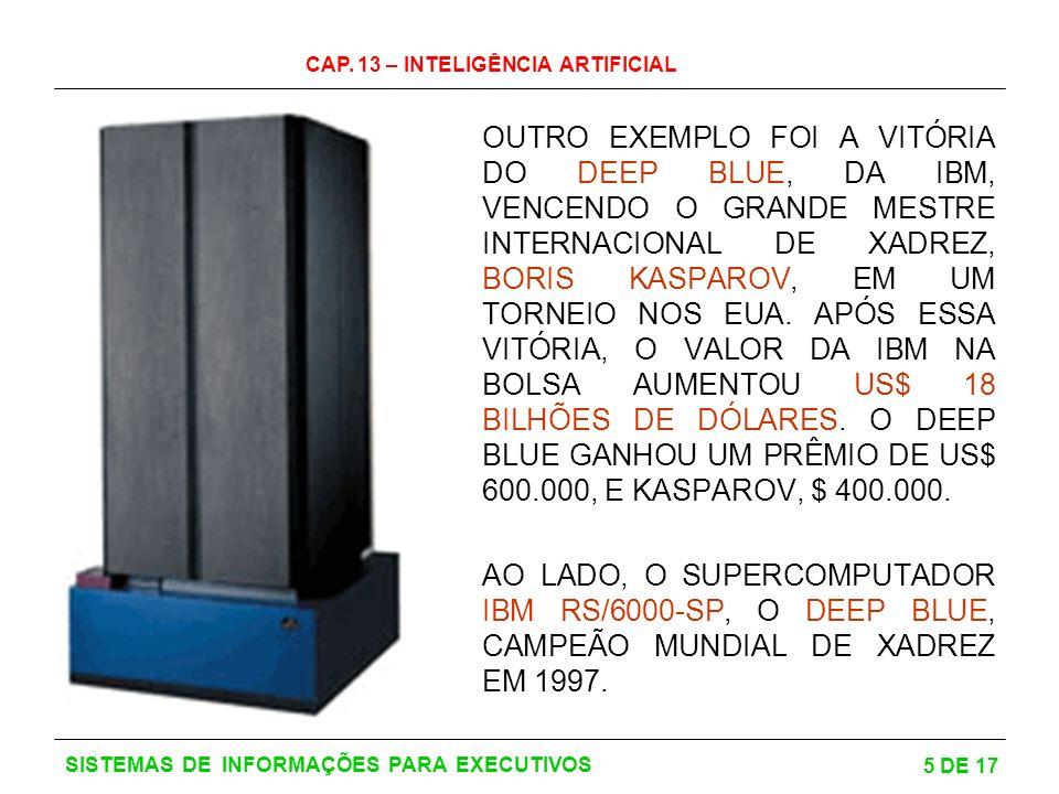 CAP. 13 – INTELIGÊNCIA ARTIFICIAL 5 DE 17 SISTEMAS DE INFORMAÇÕES PARA EXECUTIVOS OUTRO EXEMPLO FOI A VITÓRIA DO DEEP BLUE, DA IBM, VENCENDO O GRANDE