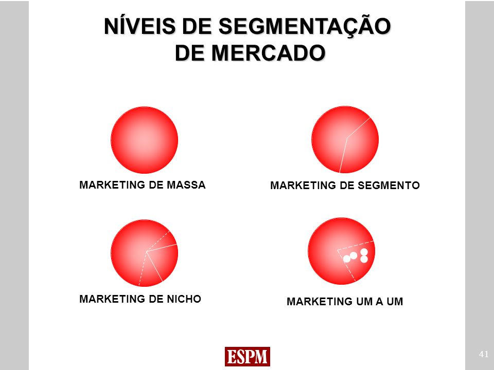 41 NÍVEIS DE SEGMENTAÇÃO DE MERCADO MARKETING DE MASSA MARKETING DE NICHO MARKETING DE SEGMENTO MARKETING UM A UM