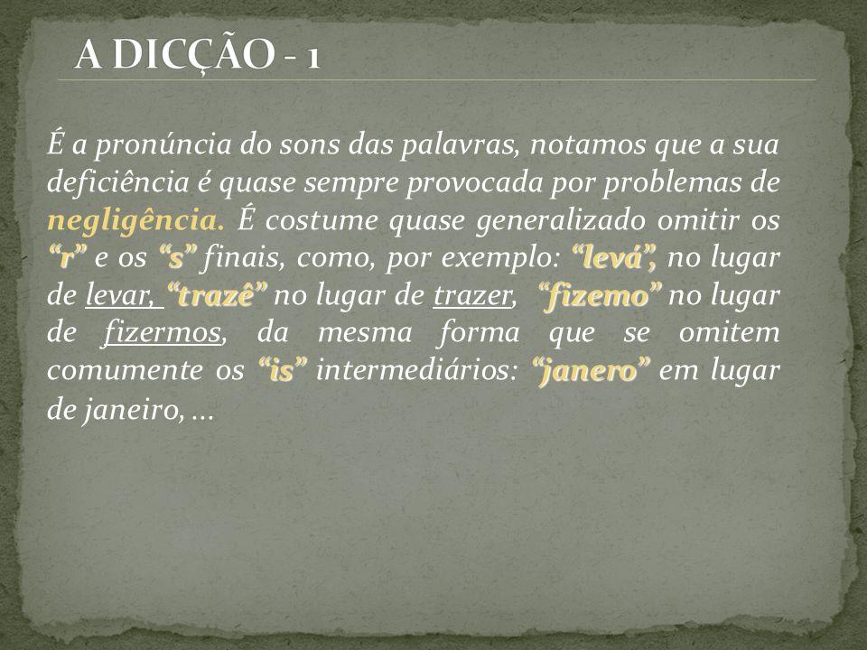 u lBrasiu pcisa Outros erros de dicção provocados pela negligência são a troca do u pelo l e omissões de sílabas; Brasiu no lugar de Brasil, pcisa no lugar de precisa etc.