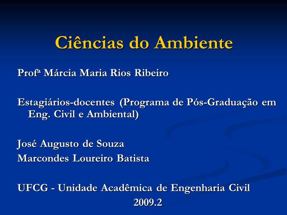 Ciências do Ambiente Prof a Márcia Maria Rios Ribeiro Estagiários-docentes (Programa de Pós-Graduação em Eng. Civil e Ambiental) José Augusto de Souza