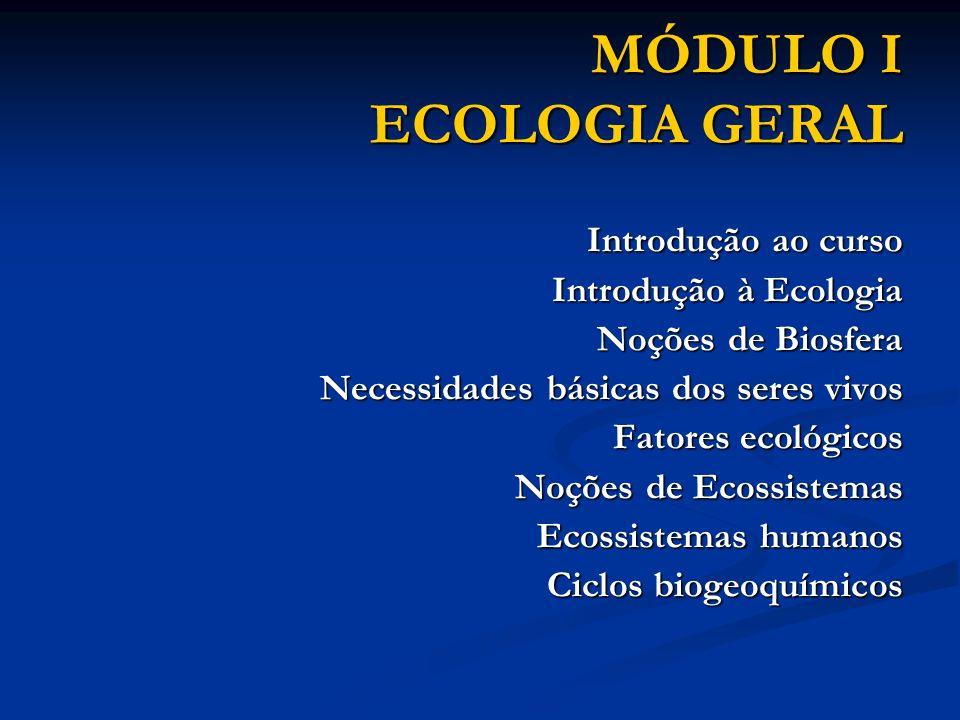 MÓDULO I ECOLOGIA GERAL Introdução ao curso Introdução ao curso Introdução à Ecologia Introdução à Ecologia Noções de Biosfera Noções de Biosfera Nece