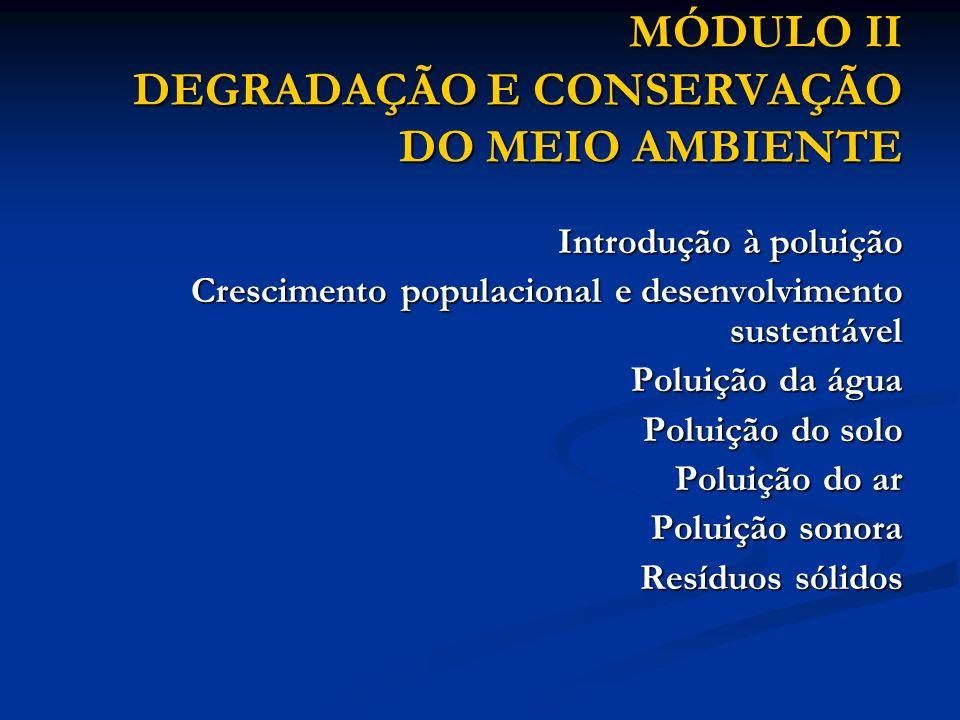 MÓDULO II DEGRADAÇÃO E CONSERVAÇÃO DO MEIO AMBIENTE Introdução à poluição Introdução à poluição Crescimento populacional e desenvolvimento sustentável