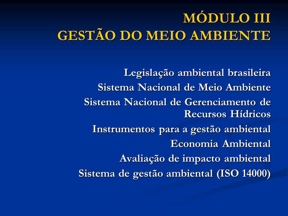 MÓDULO III GESTÃO DO MEIO AMBIENTE Legislação ambiental brasileira Sistema Nacional de Meio Ambiente Sistema Nacional de Gerenciamento de Recursos Híd