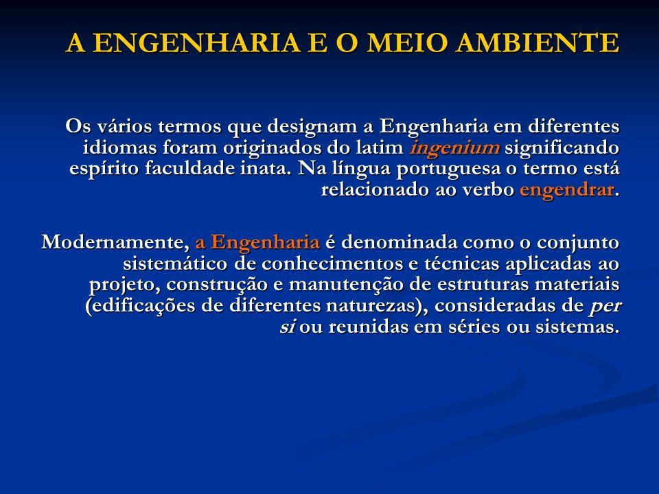 A ENGENHARIA E O MEIO AMBIENTE Os vários termos que designam a Engenharia em diferentes idiomas foram originados do latim ingenium significando espíri