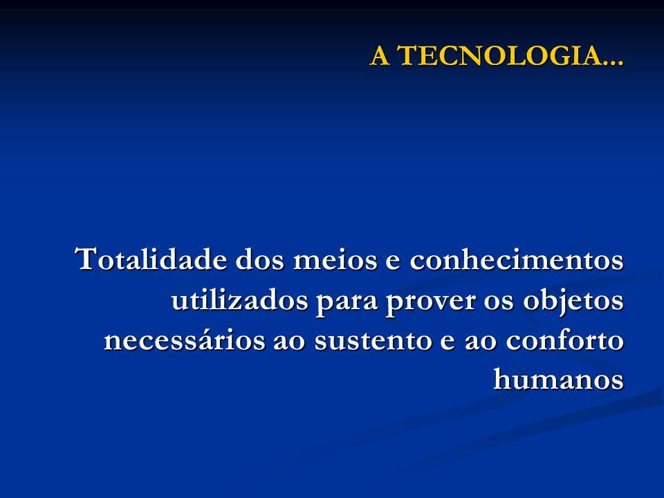 A TECNOLOGIA... Totalidade dos meios e conhecimentos utilizados para prover os objetos necessários ao sustento e ao conforto humanos