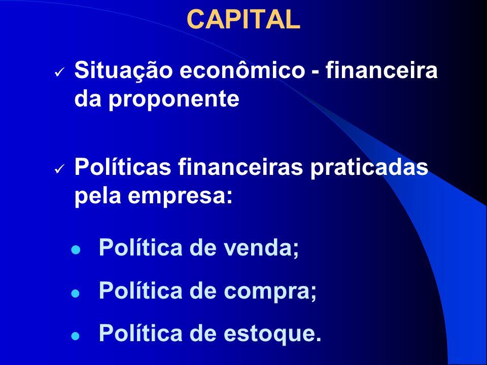 CAPITAL Política de venda; Política de compra; Política de estoque. Situação econômico - financeira da proponente Políticas financeiras praticadas pel
