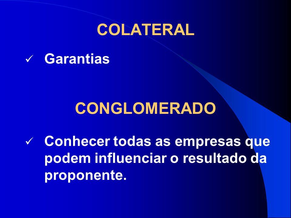 COLATERAL Garantias CONGLOMERADO Conhecer todas as empresas que podem influenciar o resultado da proponente.