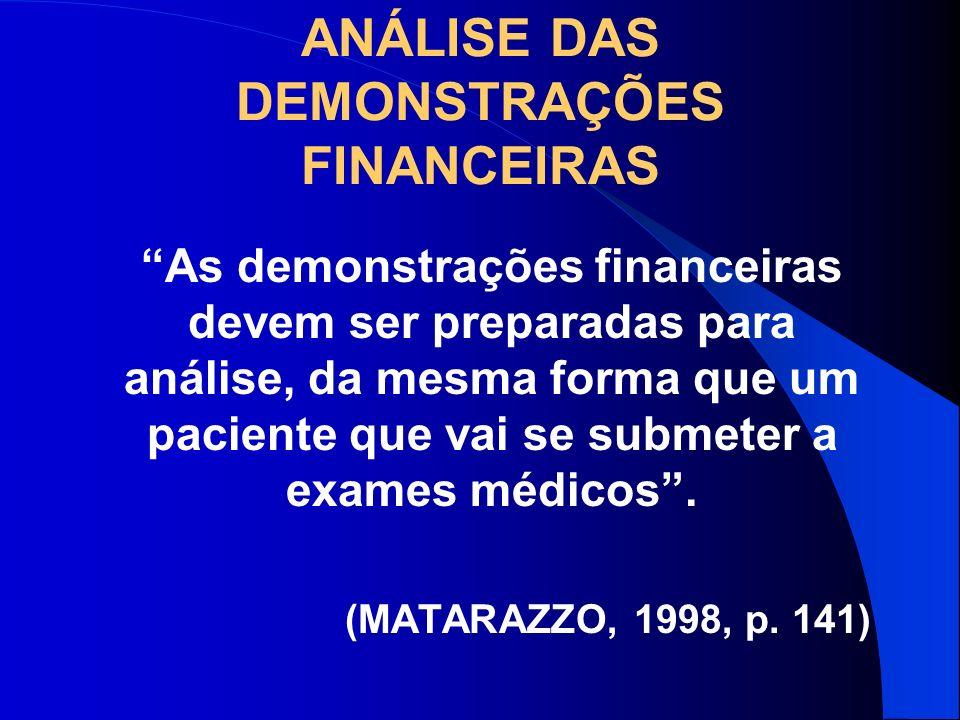 ANÁLISE DAS DEMONSTRAÇÕES FINANCEIRAS As demonstrações financeiras devem ser preparadas para análise, da mesma forma que um paciente que vai se submet