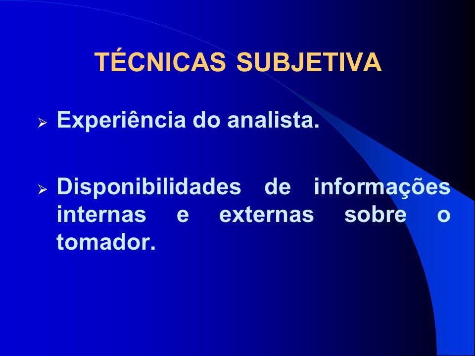 TÉCNICAS SUBJETIVA Experiência do analista. Disponibilidades de informações internas e externas sobre o tomador.