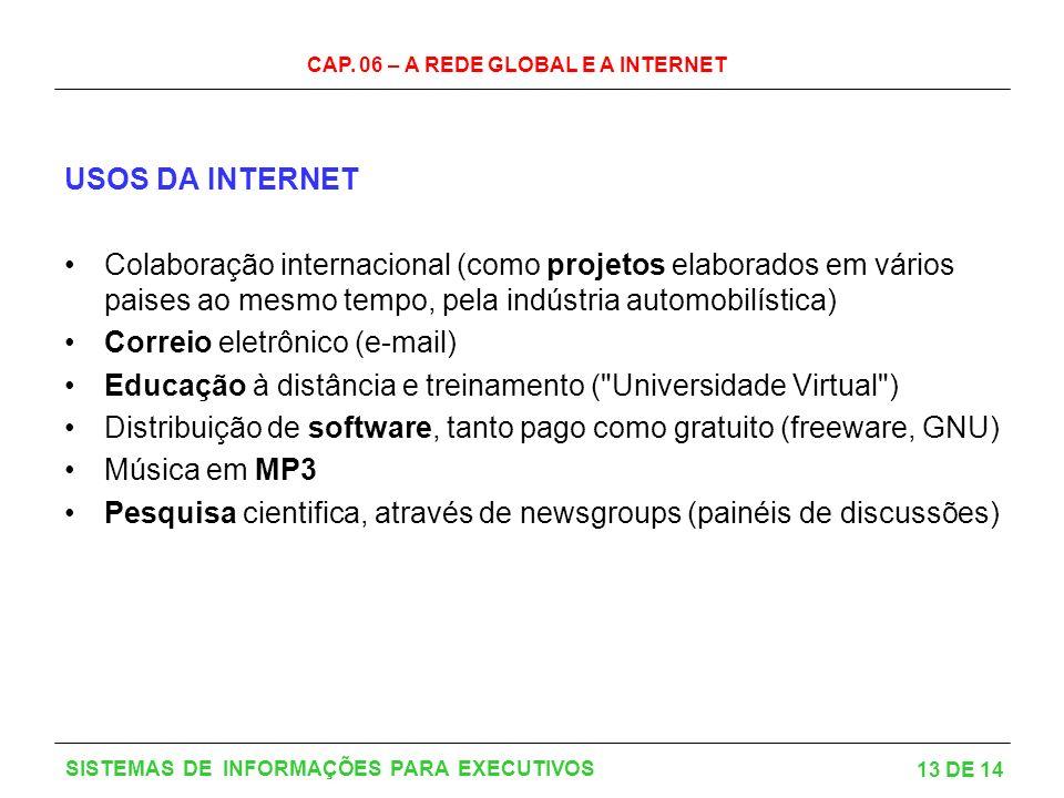 CAP. 06 – A REDE GLOBAL E A INTERNET 13 DE 14 SISTEMAS DE INFORMAÇÕES PARA EXECUTIVOS USOS DA INTERNET Colaboração internacional (como projetos elabor