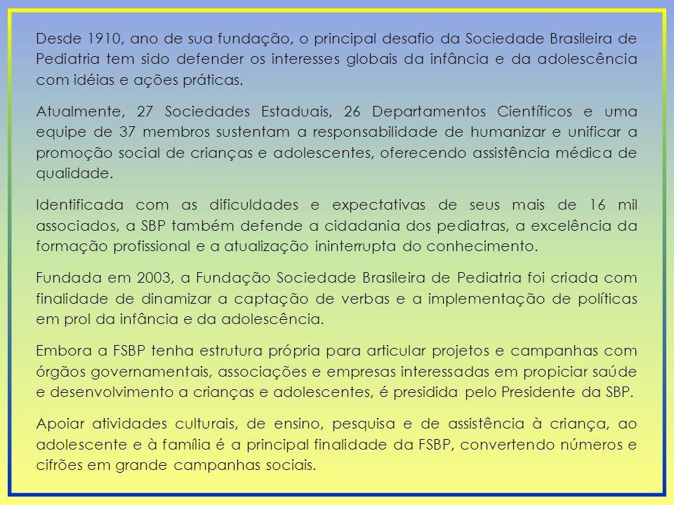 Desde 1910, ano de sua fundação, o principal desafio da Sociedade Brasileira de Pediatria tem sido defender os interesses globais da infância e da ado