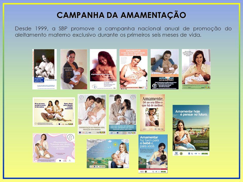 Desde 1999, a SBP promove a campanha nacional anual de promoção do aleitamento materno exclusivo durante os primeiros seis meses de vida. CAMPANHA DA