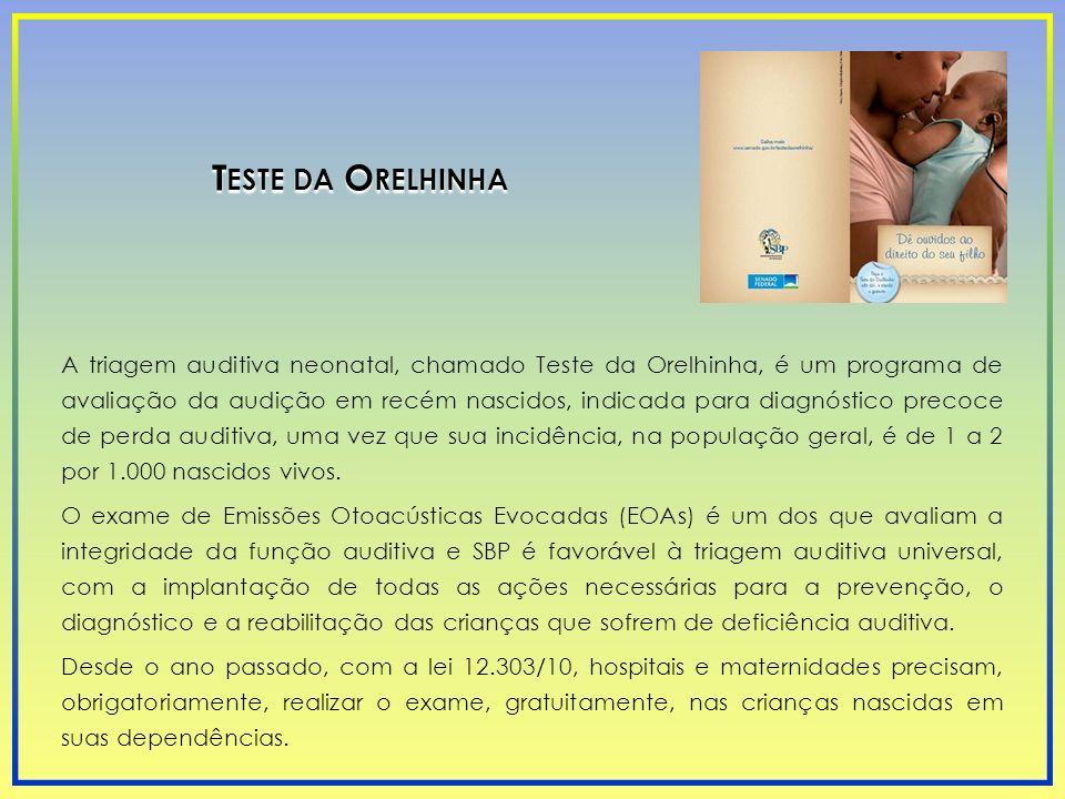 A triagem auditiva neonatal, chamado Teste da Orelhinha, é um programa de avaliação da audição em recém nascidos, indicada para diagnóstico precoce de