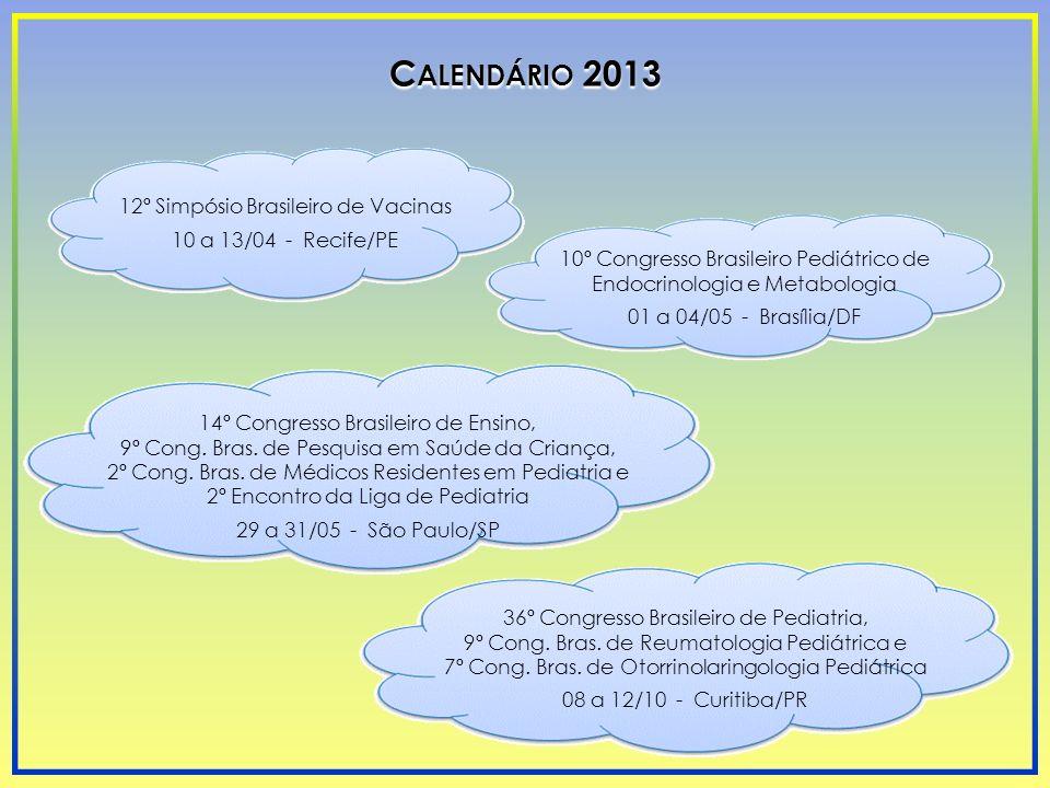 C ALENDÁRIO 2013 12º Simpósio Brasileiro de Vacinas 10 a 13/04 - Recife/PE 10º Congresso Brasileiro Pediátrico de Endocrinologia e Metabologia 01 a 04