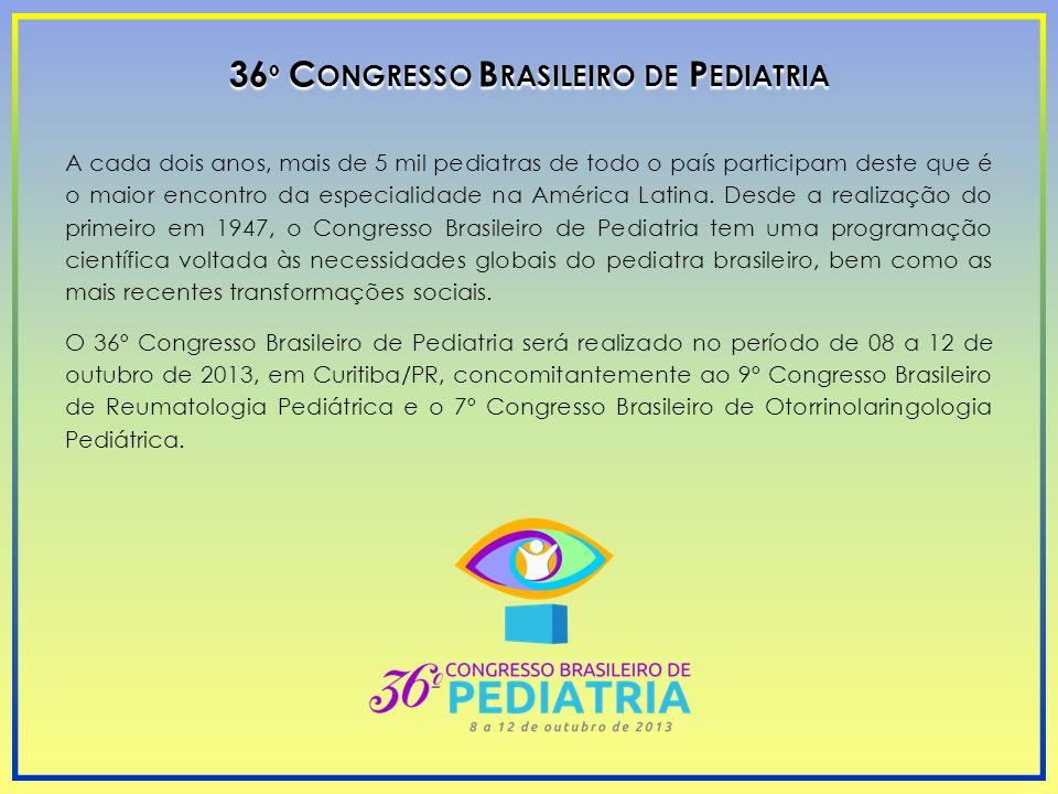 36 º C ONGRESSO B RASILEIRO DE P EDIATRIA A cada dois anos, mais de 5 mil pediatras de todo o país participam deste que é o maior encontro da especial