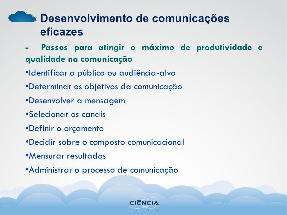 Desenvolvimento de comunicações eficazes - Passos para atingir o máximo de produtividade e qualidade na comunicação Identificar o público ou audiência