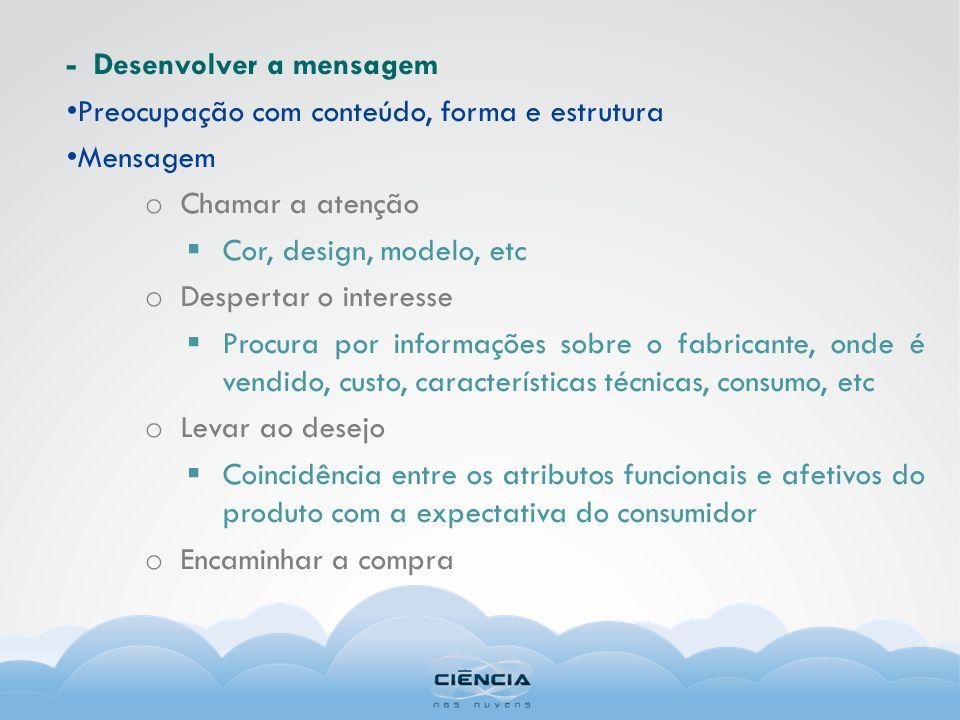 - Desenvolver a mensagem Preocupação com conteúdo, forma e estrutura Mensagem o Chamar a atenção Cor, design, modelo, etc o Despertar o interesse Proc