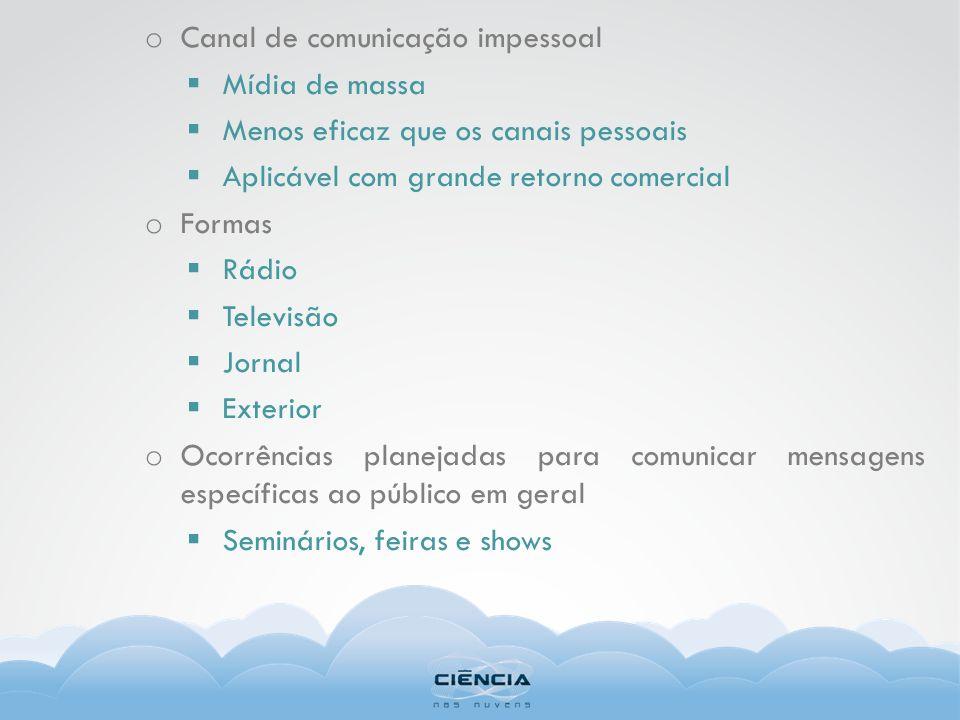 o Canal de comunicação impessoal Mídia de massa Menos eficaz que os canais pessoais Aplicável com grande retorno comercial o Formas Rádio Televisão Jo