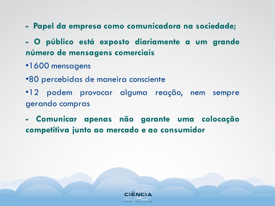 - Papel da empresa como comunicadora na sociedade; - O público está exposto diariamente a um grande número de mensagens comerciais 1600 mensagens 80 p