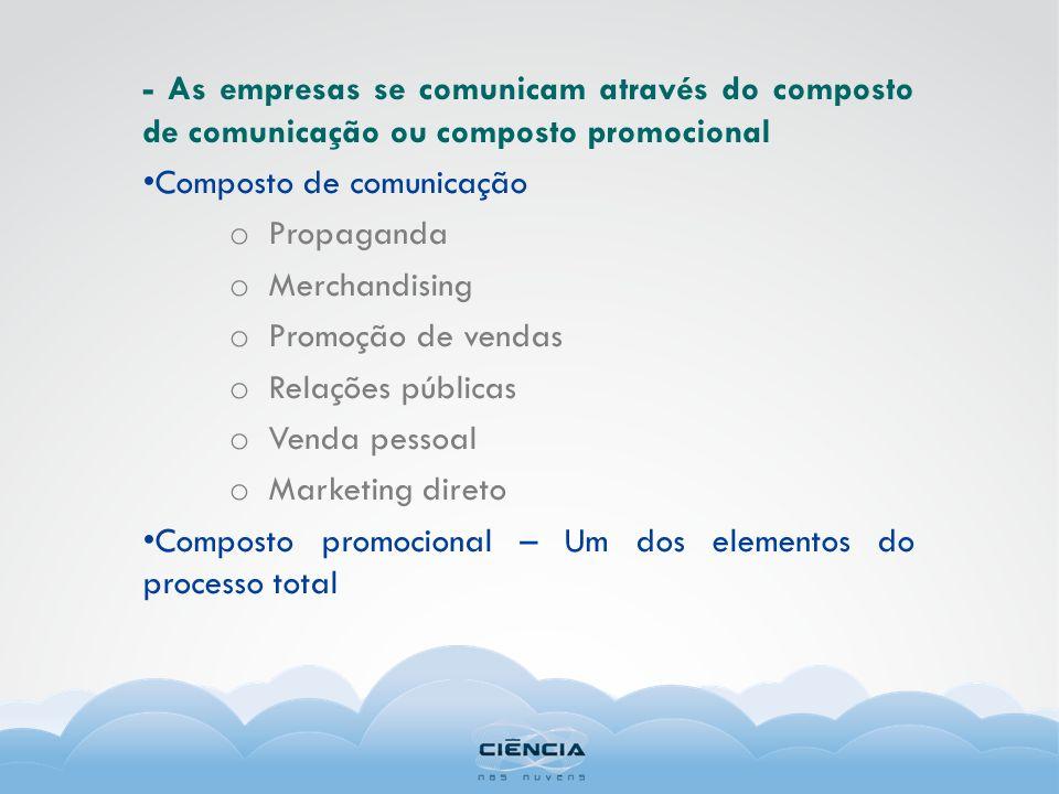 - As empresas se comunicam através do composto de comunicação ou composto promocional Composto de comunicação o Propaganda o Merchandising o Promoção