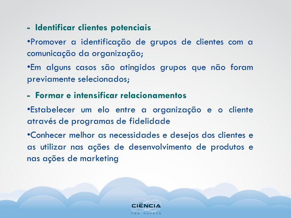 - Identificar clientes potenciais Promover a identificação de grupos de clientes com a comunicação da organização; Em alguns casos são atingidos grupo