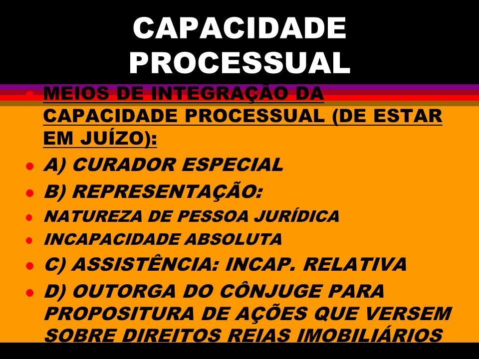 CAPACIDADE PROCESSUAL l MEIOS DE INTEGRAÇÃO DA CAPACIDADE PROCESSUAL (DE ESTAR EM JUÍZO): l A) CURADOR ESPECIAL l B) REPRESENTAÇÃO: l NATUREZA DE PESS