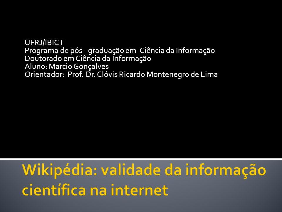 UFRJ/IBICT Programa de pós –graduação em Ciência da Informação Doutorado em Ciência da Informação Aluno: Marcio Gonçalves Orientador: Prof. Dr. Clóvis