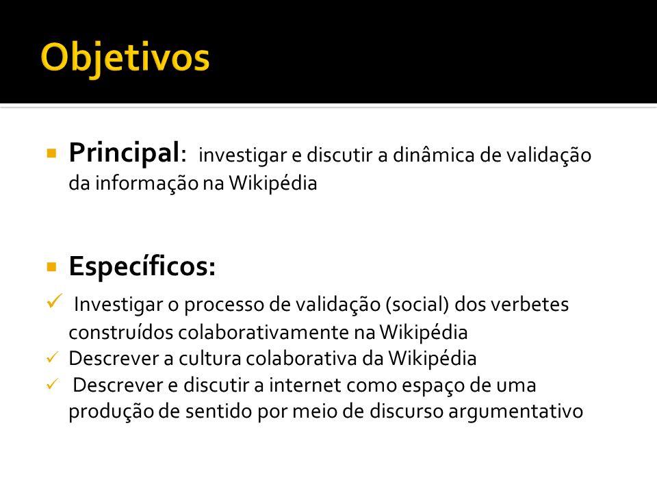 Principal: investigar e discutir a dinâmica de validação da informação na Wikipédia Específicos: Investigar o processo de validação (social) dos verbe
