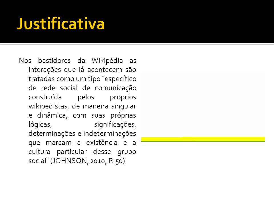 Nos bastidores da Wikipédia as interações que lá acontecem são tratadas como um tipo específico de rede social de comunicação construída pelos próprio