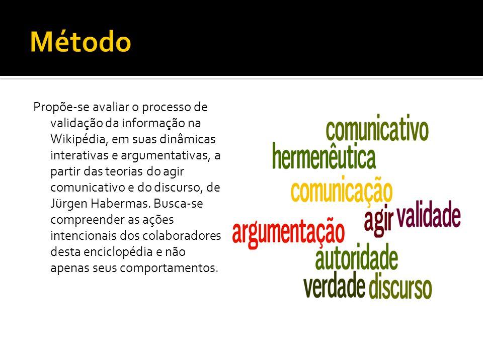 Propõe-se avaliar o processo de validação da informação na Wikipédia, em suas dinâmicas interativas e argumentativas, a partir das teorias do agir com