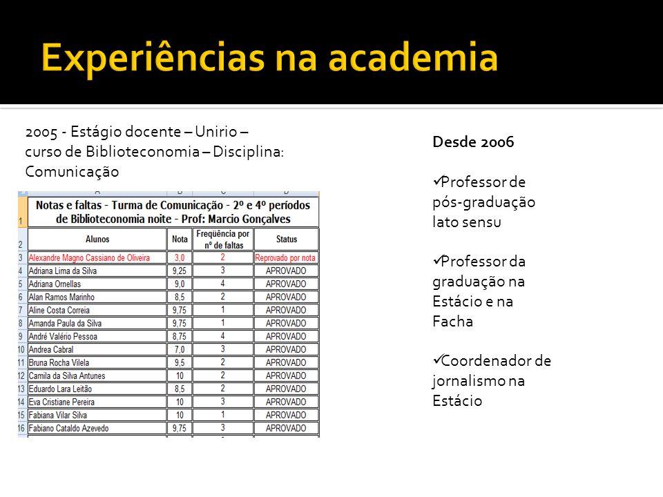 2005 - Estágio docente – Unirio – curso de Biblioteconomia – Disciplina: Comunicação Desde 2006 Professor de pós-graduação lato sensu Professor da gra