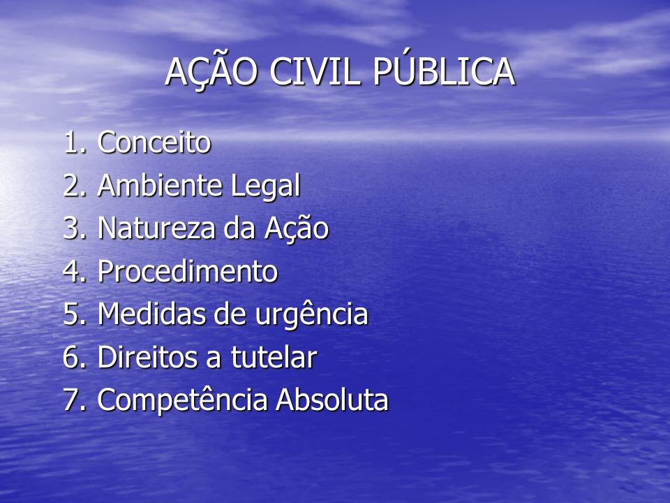 AÇÃO CIVIL PÚBLICA 1. Conceito 2. Ambiente Legal 3. Natureza da Ação 4. Procedimento 5. Medidas de urgência 6. Direitos a tutelar 7. Competência Absol