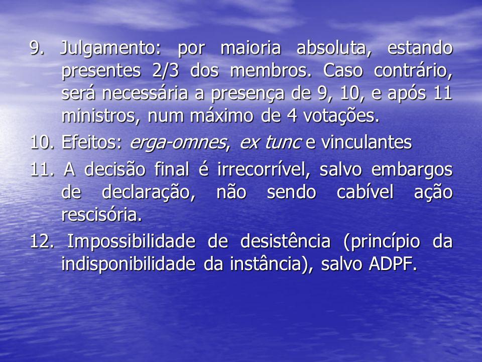 13.Participação da AGU e do PGR. 14.