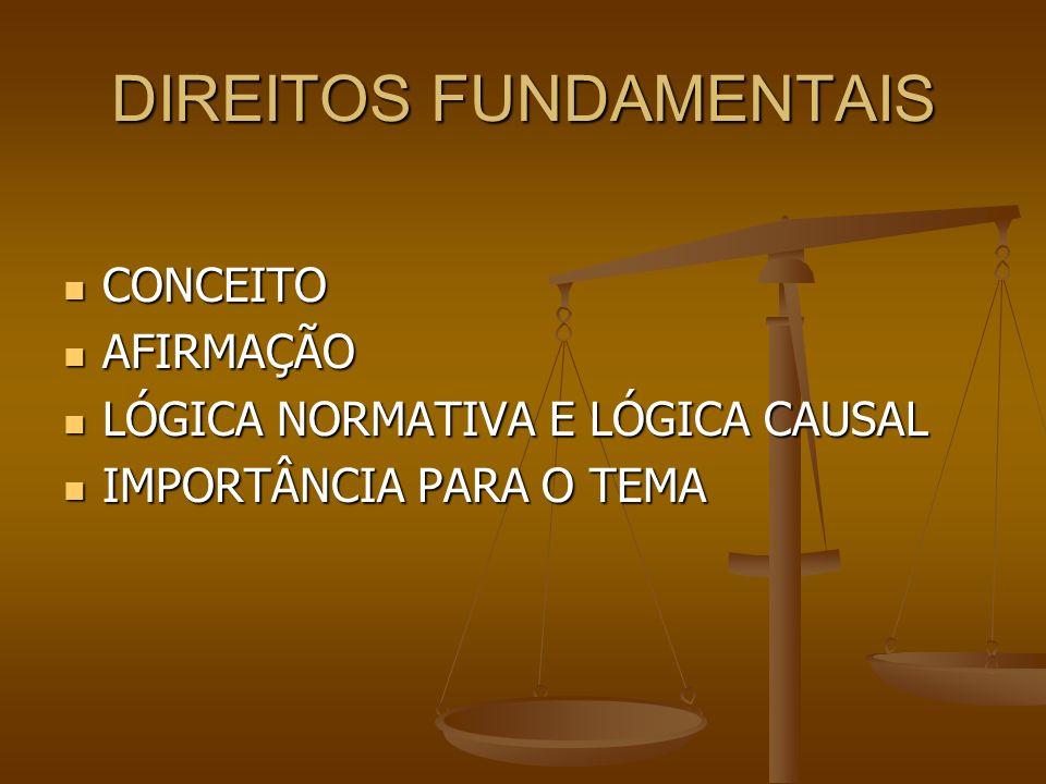 DIREITOS FUNDAMENTAIS CONCEITO CONCEITO AFIRMAÇÃO AFIRMAÇÃO LÓGICA NORMATIVA E LÓGICA CAUSAL LÓGICA NORMATIVA E LÓGICA CAUSAL IMPORTÂNCIA PARA O TEMA IMPORTÂNCIA PARA O TEMA