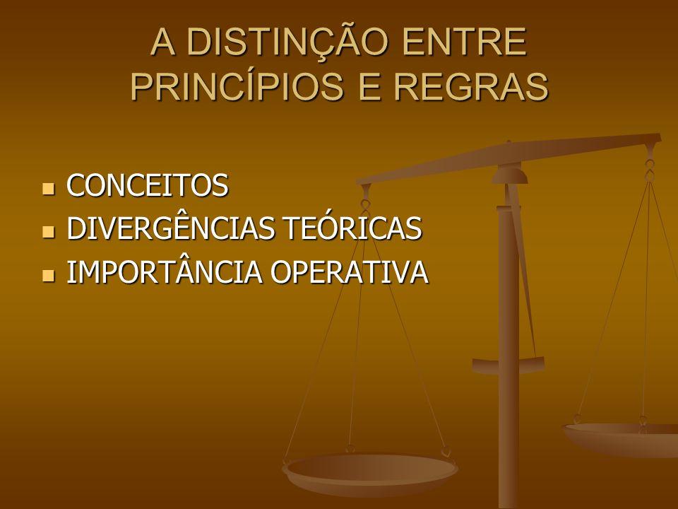 A DISTINÇÃO ENTRE PRINCÍPIOS E REGRAS CONCEITOS CONCEITOS DIVERGÊNCIAS TEÓRICAS DIVERGÊNCIAS TEÓRICAS IMPORTÂNCIA OPERATIVA IMPORTÂNCIA OPERATIVA