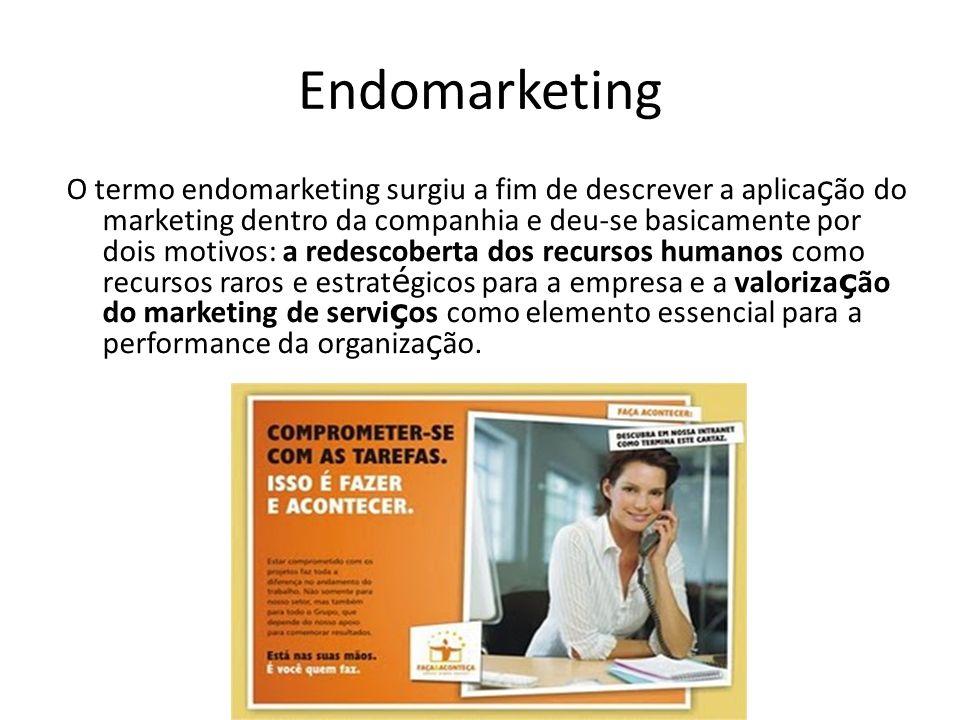 Endomarketing O termo endomarketing surgiu a fim de descrever a aplica ç ão do marketing dentro da companhia e deu-se basicamente por dois motivos: a