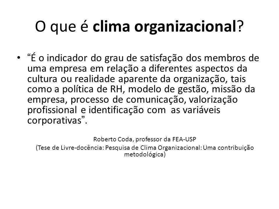 O que é clima organizacional? É o indicador do grau de satisfação dos membros de uma empresa em relação a diferentes aspectos da cultura ou realidade