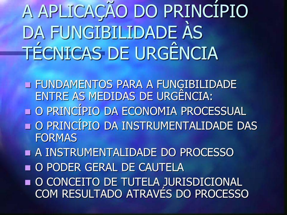 A APLICAÇÃO DO PRINCÍPIO DA FUNGIBILIDADE ÀS TÉCNICAS DE URGÊNCIA FUNDAMENTOS PARA A FUNGIBILIDADE ENTRE AS MEDIDAS DE URGÊNCIA: FUNDAMENTOS PARA A FUNGIBILIDADE ENTRE AS MEDIDAS DE URGÊNCIA: O PRINCÍPIO DA ECONOMIA PROCESSUAL O PRINCÍPIO DA ECONOMIA PROCESSUAL O PRINCÍPIO DA INSTRUMENTALIDADE DAS FORMAS O PRINCÍPIO DA INSTRUMENTALIDADE DAS FORMAS A INSTRUMENTALIDADE DO PROCESSO A INSTRUMENTALIDADE DO PROCESSO O PODER GERAL DE CAUTELA O PODER GERAL DE CAUTELA O CONCEITO DE TUTELA JURISDICIONAL COM RESULTADO ATRAVÉS DO PROCESSO O CONCEITO DE TUTELA JURISDICIONAL COM RESULTADO ATRAVÉS DO PROCESSO