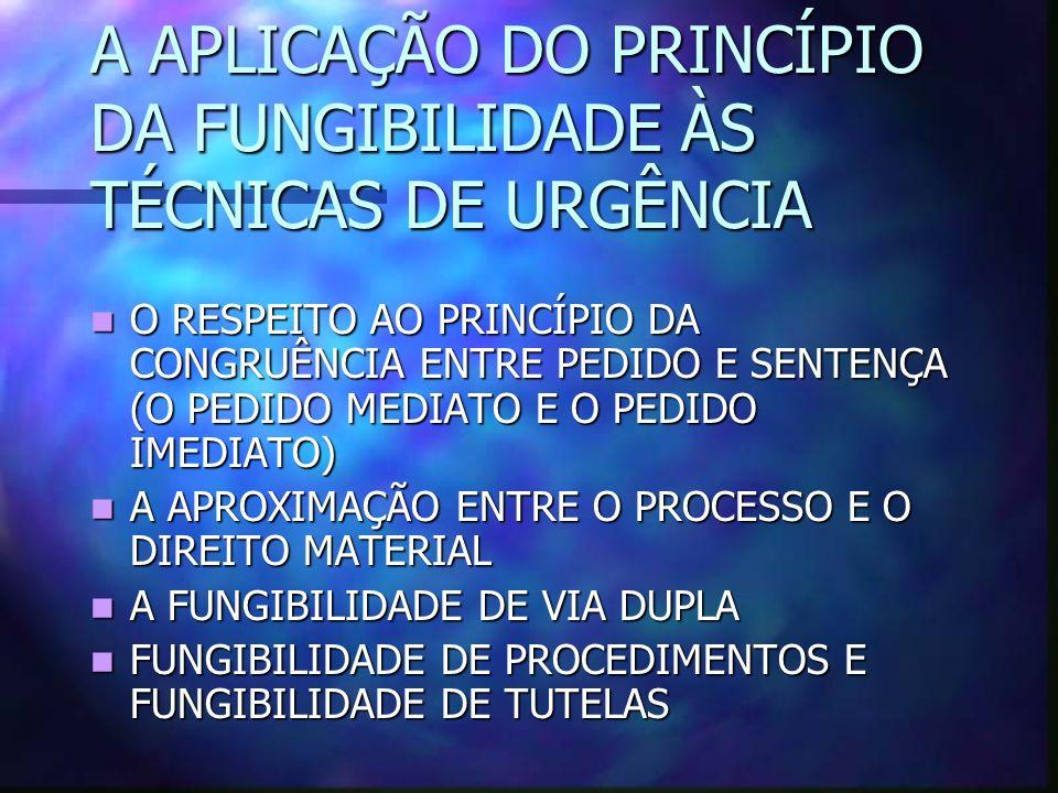 A APLICAÇÃO DO PRINCÍPIO DA FUNGIBILIDADE ÀS TÉCNICAS DE URGÊNCIA O RESPEITO AO PRINCÍPIO DA CONGRUÊNCIA ENTRE PEDIDO E SENTENÇA (O PEDIDO MEDIATO E O PEDIDO IMEDIATO) O RESPEITO AO PRINCÍPIO DA CONGRUÊNCIA ENTRE PEDIDO E SENTENÇA (O PEDIDO MEDIATO E O PEDIDO IMEDIATO) A APROXIMAÇÃO ENTRE O PROCESSO E O DIREITO MATERIAL A APROXIMAÇÃO ENTRE O PROCESSO E O DIREITO MATERIAL A FUNGIBILIDADE DE VIA DUPLA A FUNGIBILIDADE DE VIA DUPLA FUNGIBILIDADE DE PROCEDIMENTOS E FUNGIBILIDADE DE TUTELAS FUNGIBILIDADE DE PROCEDIMENTOS E FUNGIBILIDADE DE TUTELAS