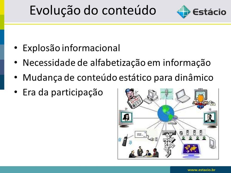 Evolução do conteúdo Explosão informacional Necessidade de alfabetização em informação Mudança de conteúdo estático para dinâmico Era da participação