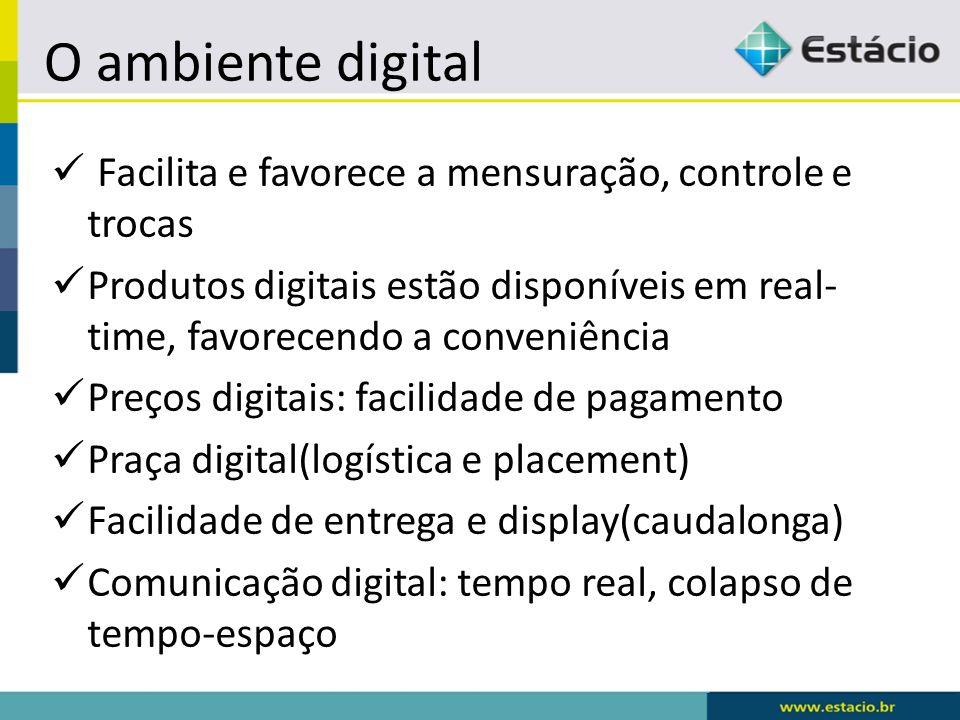 O ambiente digital Facilita e favorece a mensuração, controle e trocas Produtos digitais estão disponíveis em real- time, favorecendo a conveniência P