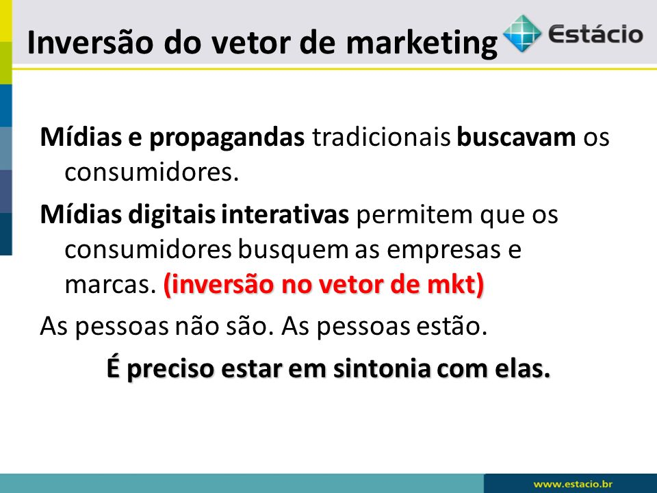 Mídias e propagandas tradicionais buscavam os consumidores. (inversão no vetor de mkt) Mídias digitais interativas permitem que os consumidores busque