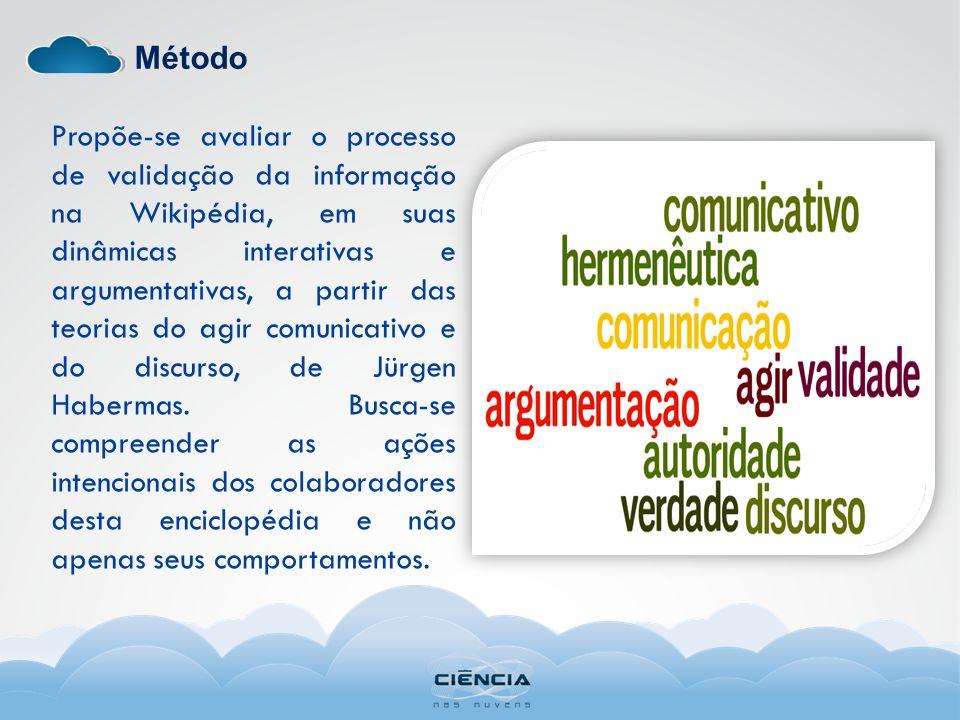 Método Propõe-se avaliar o processo de validação da informação na Wikipédia, em suas dinâmicas interativas e argumentativas, a partir das teorias do a