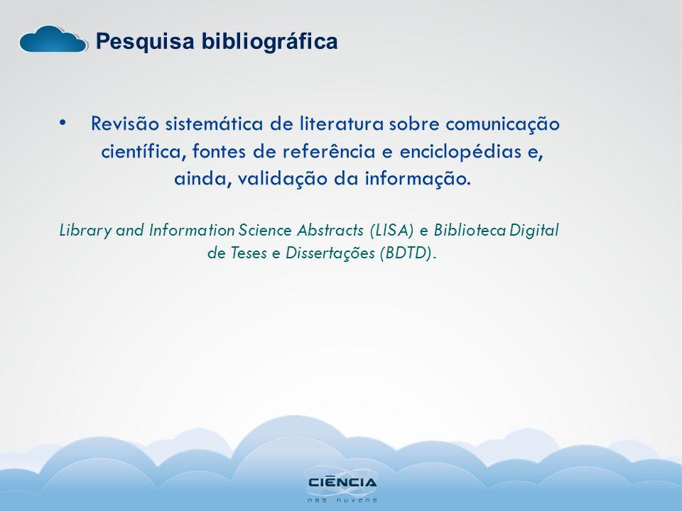 Pesquisa bibliográfica Revisão sistemática de literatura sobre comunicação científica, fontes de referência e enciclopédias e, ainda, validação da inf